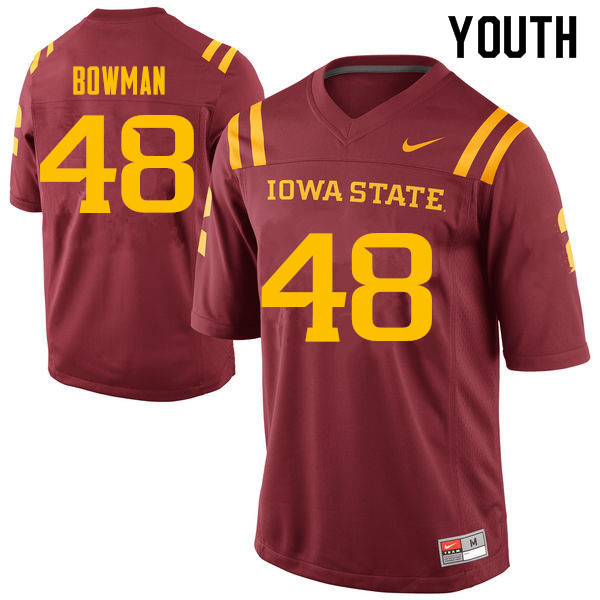 Youth #48 Jason Bowman Iowa State Cyclones College Football Jerseys Sale-Cardinal